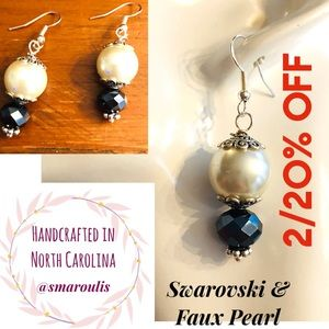 Sterling Silver Earrings Faux Pearl & Swarovski